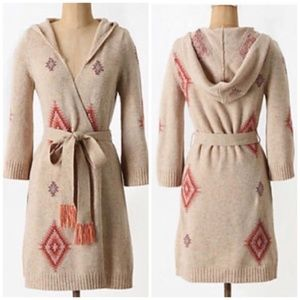 Anthropologie Sweaters - Anthropologie Lilka Sz M Long hooded robe cardigan